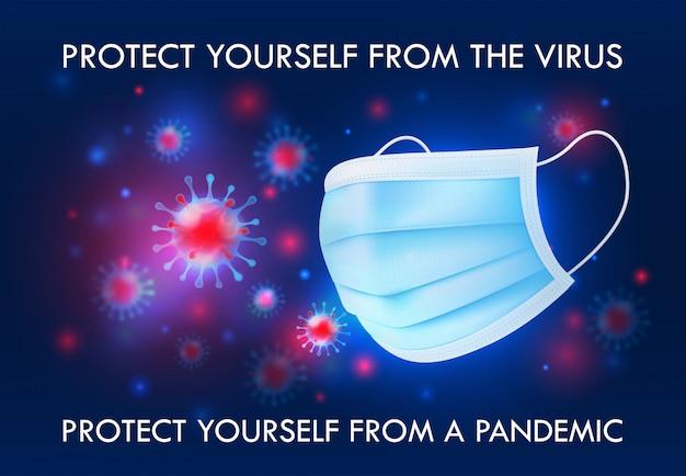 Maschera protettiva medica. illustrazione 3d