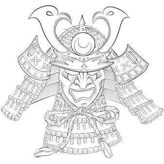 Maschera samurai giappone. stampa giapponese con maschera samurai.