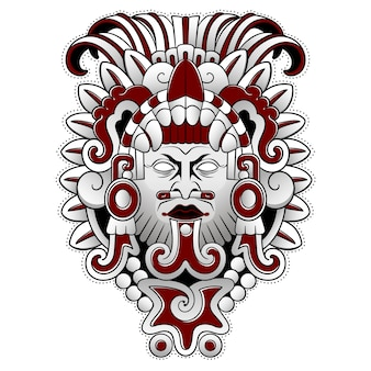 Maschera spaventosa del dio della gente azteca