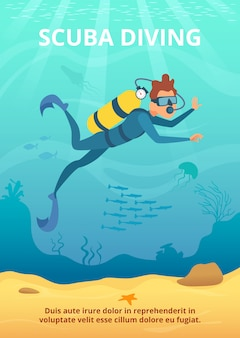 Maschera subacquea con l'operatore subacqueo del fumetto