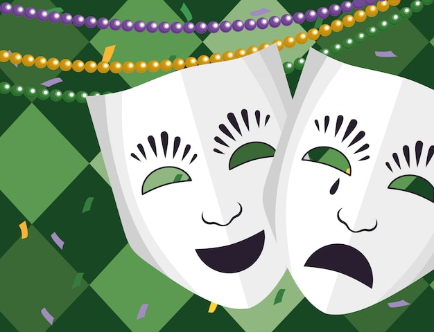Maschera teatrale con perline