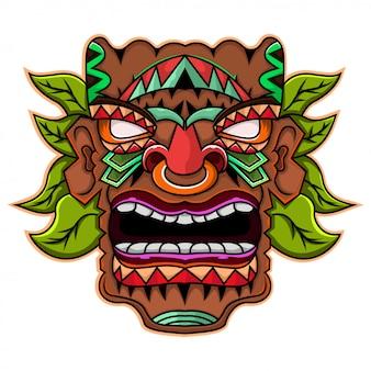 Maschera tiki con foglie logo mascotte