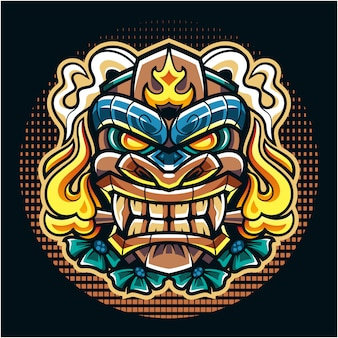 Maschera tiki logo mascotte esport