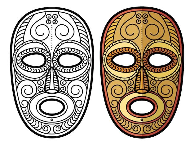 Maschera tribale azteca africana e messicana isolata