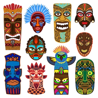 Maschera tribale che maschera cultura etnica e insieme azteco dell'illustrazione della maschera di protezione del simbolo mascherato aborigeno tradizionale isolato su fondo bianco