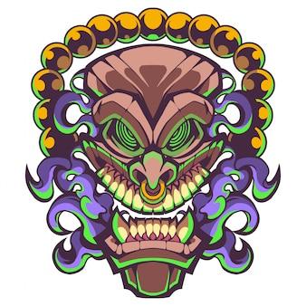 Maschera tribale hawaiana tradizionale tiki con volto umano