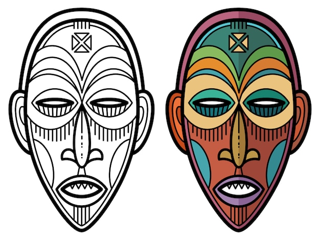 Maschera tribale storica azteca, africana, messicana indiana