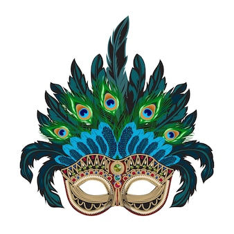Maschera veneziana di carnevale con piume colorate