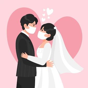 Maschere da portare delle coppie di cerimonia nuziale