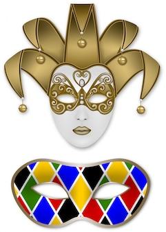 Maschere di carnevale. maschera jolly e maschera arlecchino
