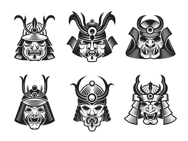Maschere marziali. illustrazioni asiatiche del nero dell'armatura dello shogun del samurai giapponese del guerriero isolate