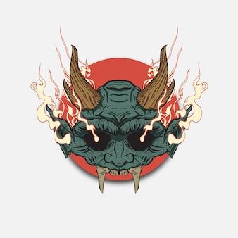 Maschere oni di demoni e mostri giapponesi