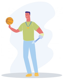 Maschio con braccio protesico con palla pallacanestro