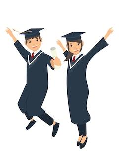Maschio e studentessa saltando dopo la cerimonia di laurea
