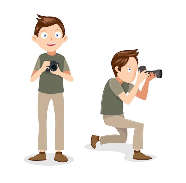 Maschio fotografo vettoriale