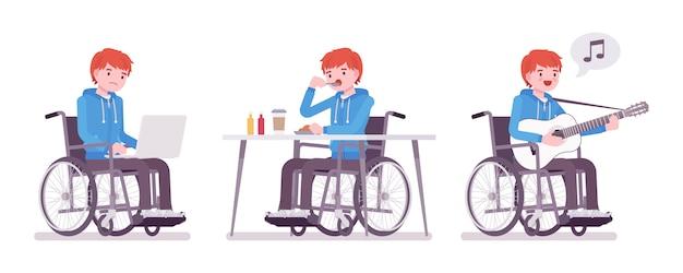 Maschio giovane utente su sedia a rotelle con laptop, mangiare, cantare