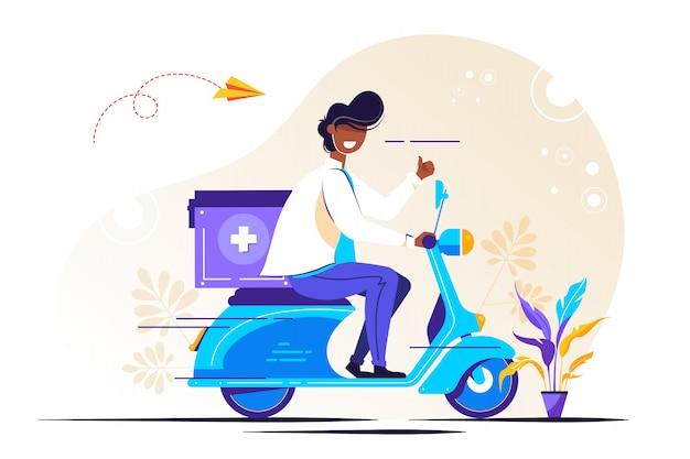 Maschio medico in uniforme equitazione scooter con medico chirurgico