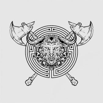Mascot logo labirinto minotauro