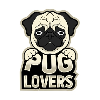 Mascot logo pug lovers