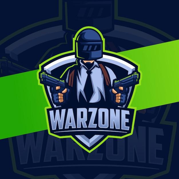 Mascotte campo di battaglia zona di guerra con casco esport logo design