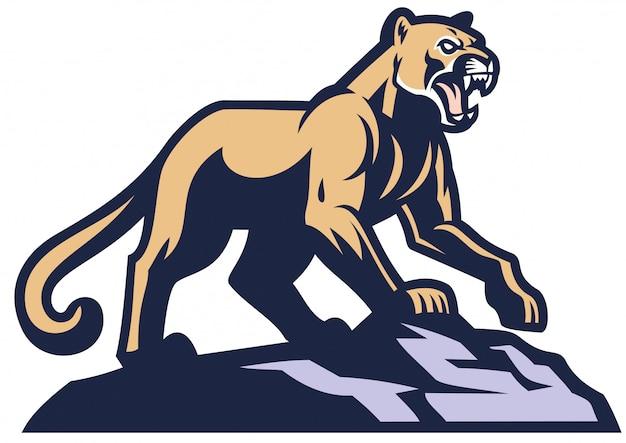 Mascotte cougar in piedi sulla roccia