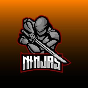 Mascotte da gioco ninja e sports logo