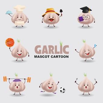 Mascotte dei cartoni animati. aglio in diverse pose. sfondo isolato.