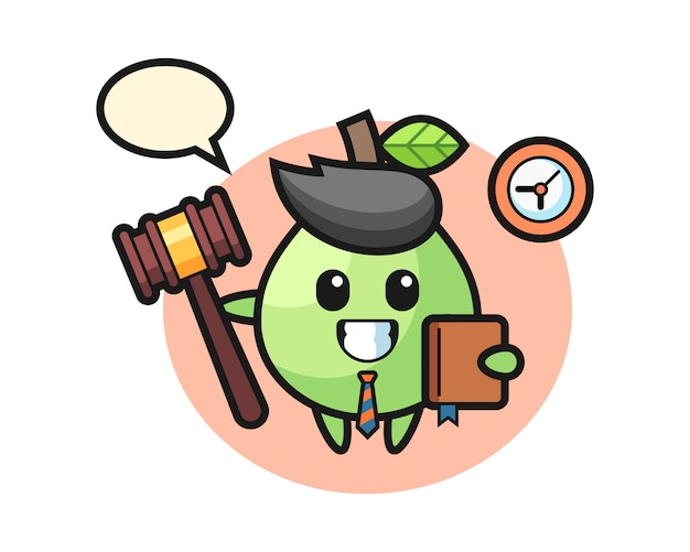 Mascotte dei cartoni animati di guava come giudice, design in stile carino per maglietta, adesivo, elemento logo