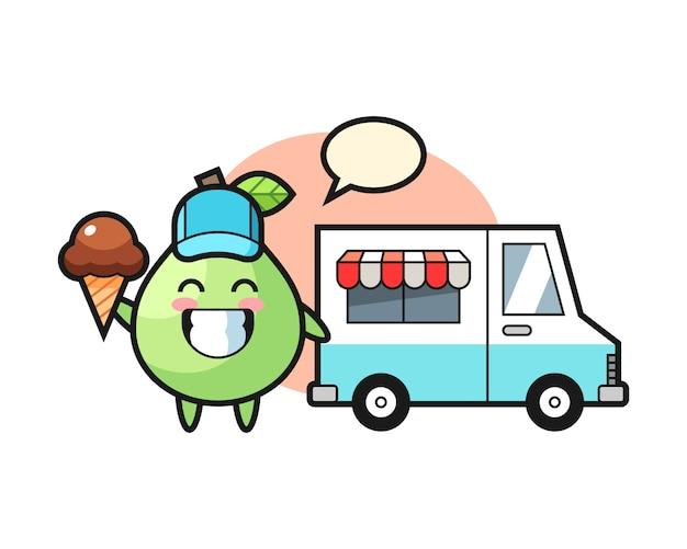 Mascotte dei cartoni animati di guava con camion dei gelati, design in stile carino per maglietta, adesivo, elemento logo