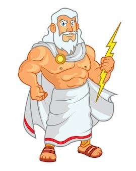 Mascotte dei cartoni animati di zeus holding lightning
