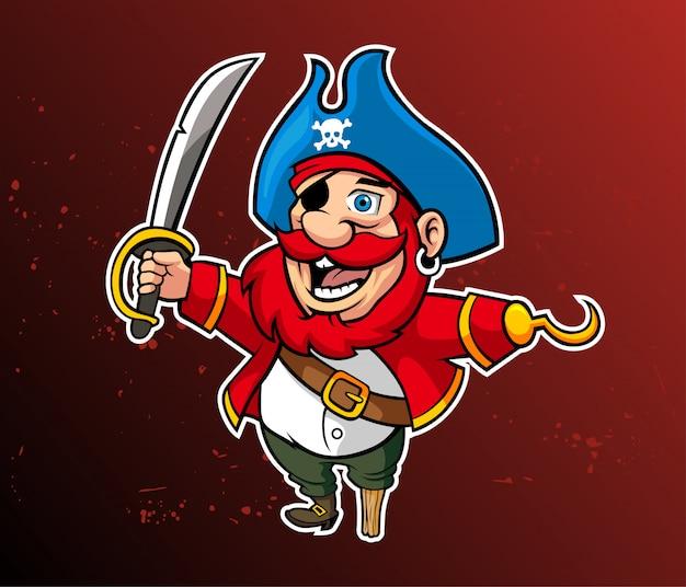Mascotte dei cartoni animati pirati divertenti. illustrazione vettoriale