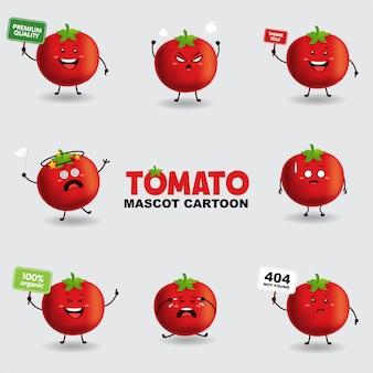 Mascotte dei cartoni animati. pomodoro in diverse pose. sfondo isolato.