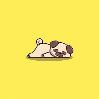 Mascotte del cane del pug pigro e annoiato disegnato a mano sveglio di kawaii doddle.
