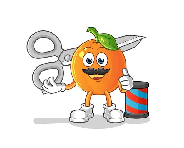 Mascotte del fumetto del barbiere arancione