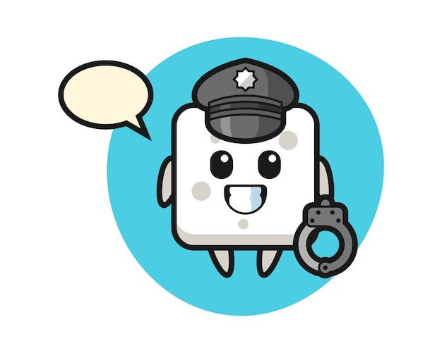 Mascotte del fumetto del cubo di zucchero come una polizia, stile carino per t-shirt, adesivo, elemento logo