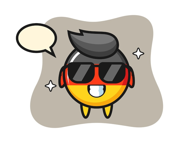 Mascotte del fumetto del distintivo della bandiera della germania con gesto cool