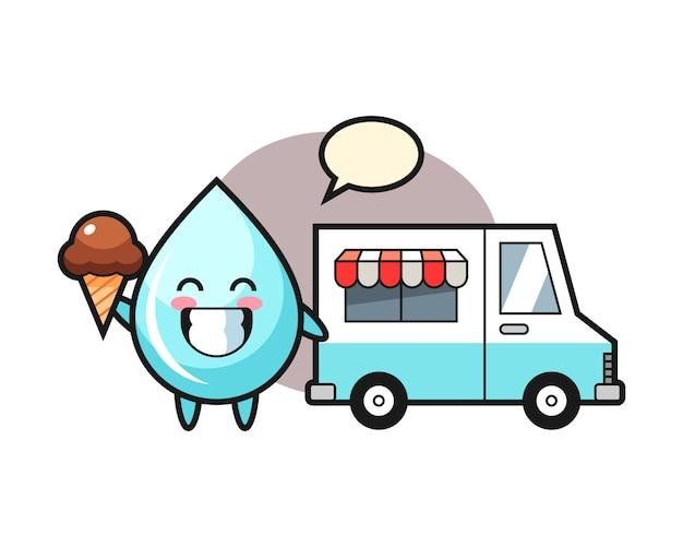 Mascotte del fumetto di goccia d'acqua con gelato camion, design in stile carino per t-shirt
