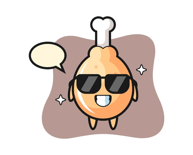 Mascotte del fumetto di pollo fritto con gesto cool