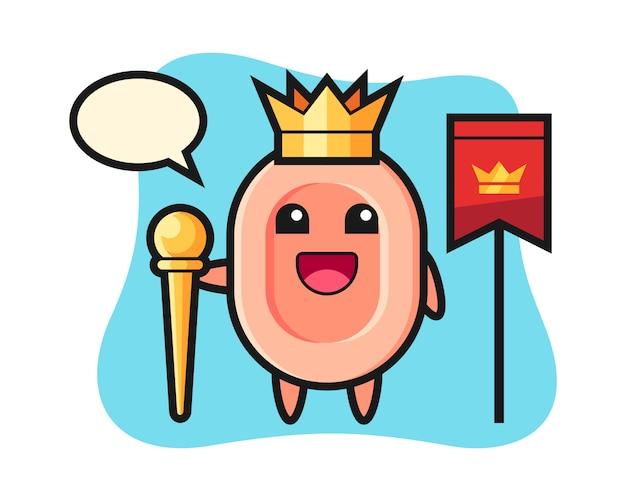Mascotte del fumetto di sapone come un re, stile carino per t-shirt, adesivo, elemento logo