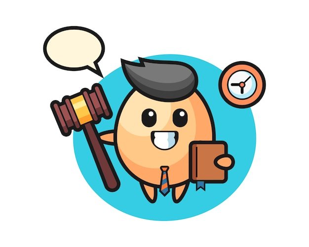 Mascotte del fumetto di uovo come un giudice, design in stile carino per t-shirt, adesivo, elemento logo