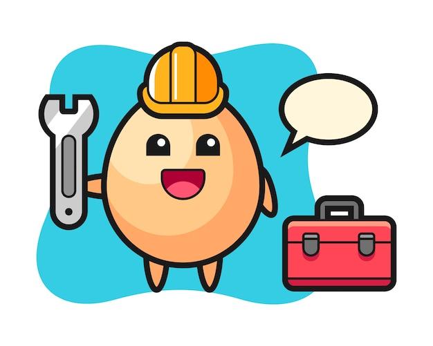 Mascotte del fumetto di uovo come un meccanico, design in stile carino per maglietta, adesivo, elemento logo