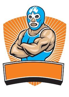 Mascotte del lottatore messicano che attraversa le sue braccia