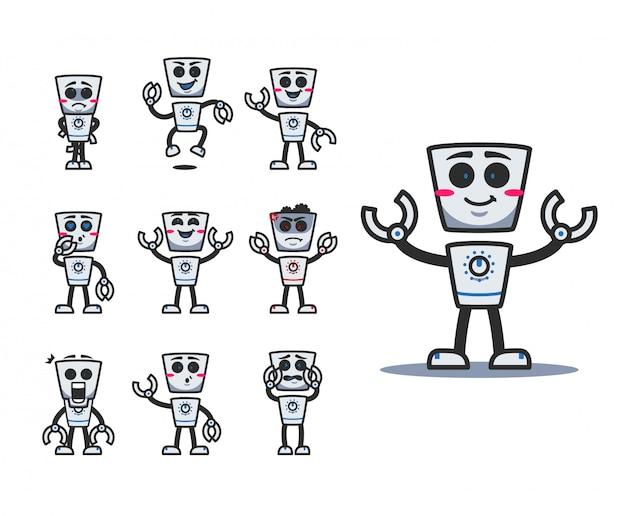 Mascotte del personaggio dei cartoni animati di robot carino retrò con vari set di emozione posa espressione