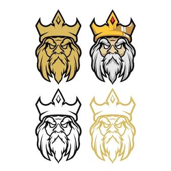 Mascotte dell'esport dell'illustrazione di vettore della testa di re
