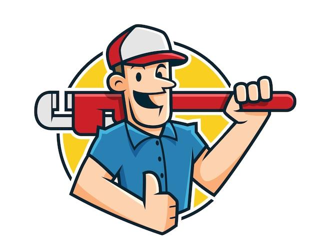 Mascotte dell'idraulico, carattere dell'idraulico, fumetto del lavoratore