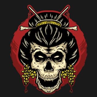 Mascotte dell'illustrazione di progettazione di logo della testa del geisha del cranio