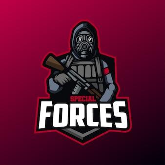 Mascotte delle forze speciali per logo sport ed esports