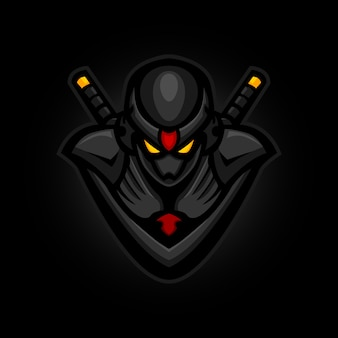 Mascotte di gioco ninja e sports logo