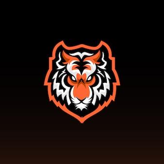 Mascotte di gioco testa di tigre. tiger e sports logo design.