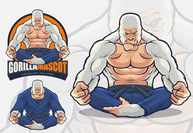 Mascotte di gorilla per jiu jitsu brasiliano e logo / illustrazione di arti marziali